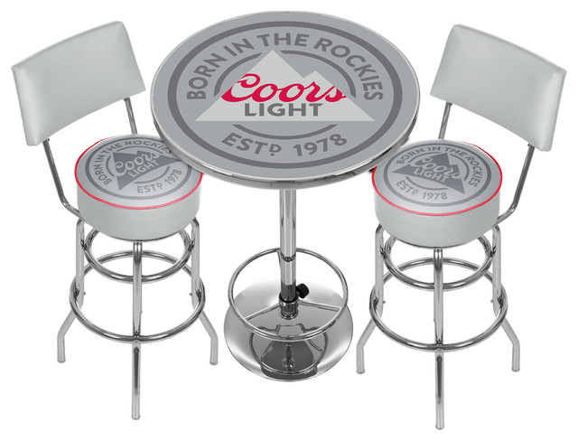 Coors Light Game Room Combo 2 Stools With Back And Table