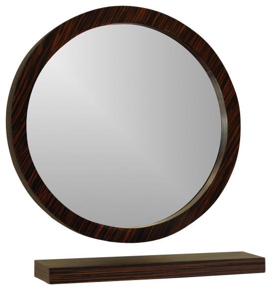 """Bathroom Mirrors Round bellaterra home 804338-mirror 21.7"""" round mirror, wood, ebony"""