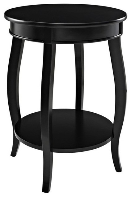 Powell Furniture Round Table With Shelf, Black Contemporary Side Tables And