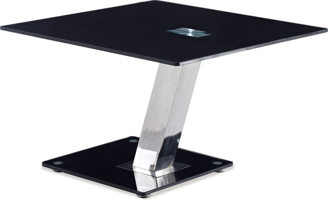 End Table, Black, Chrome.