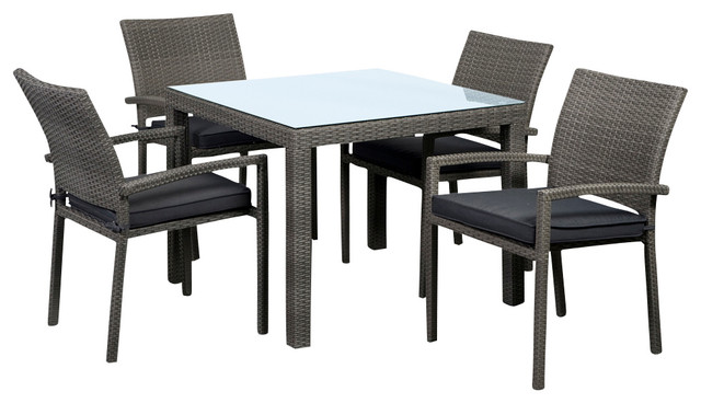 Liberty Square 5 Piece Armchair Dining Set Tropical Outdoor Dining Sets