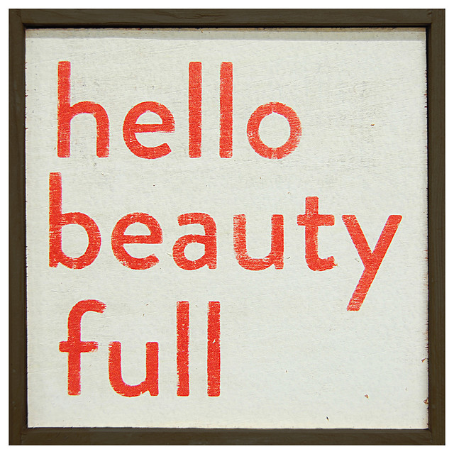 Hello Beauty Full' Simplicity Vintage Reclaimed Wood Wall Art - Small