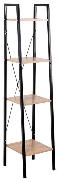 Corner Bookcase With Black Finished Metal Frame and Oak Shelves, Modern Design