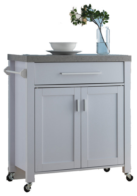 Faux Cement Top Portable Mobile Kitchen Island