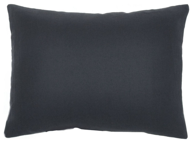"""Soft Washed Navy 100 Pure Linen Solid Decorative Throw Pillow Covers, 12""""x16"""""""