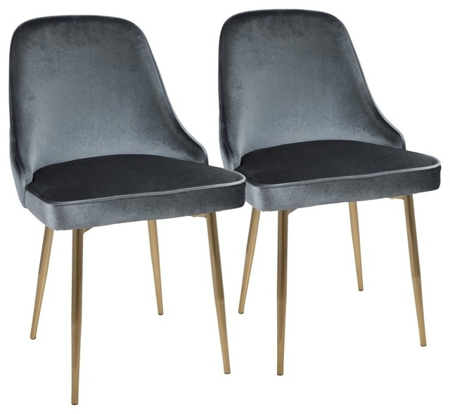 Marcel Contemporary Dining Chairs With Blue Velvet Fabric, Set Of 2.