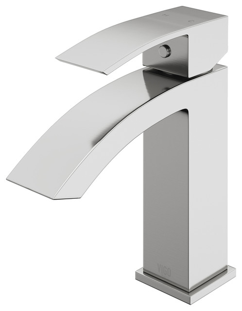 Satro Bathroom Single Hole Faucet In Pvd Brushed Nickel By Vigo.