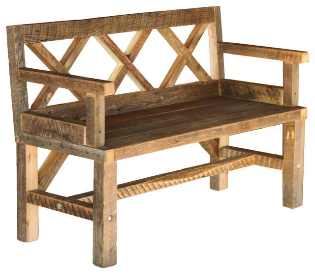 Surprising Sturdy Patio Bench Rustic Style Machost Co Dining Chair Design Ideas Machostcouk