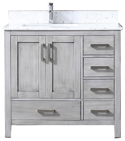 Jacques 84 Double Vanity Distressed Grey White Square Sinks And No Mirror White Carrera Marble Top
