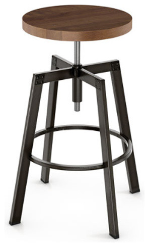 Exceptionnel Adjustable Screw Stool With Wood Seat, Toasty