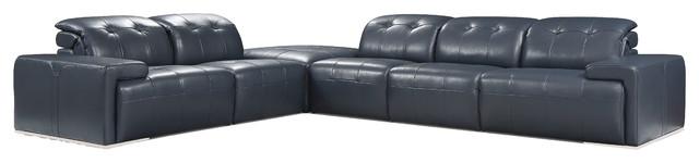 Divani Casa Grafton Modern Blue Leather Sectional Sofa