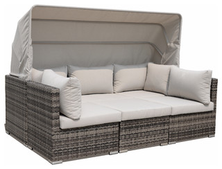 Courtyard Casual Taupe Aurora Outdoor Sectional To Daybed Combo With Canopy Contemporary Sofas By
