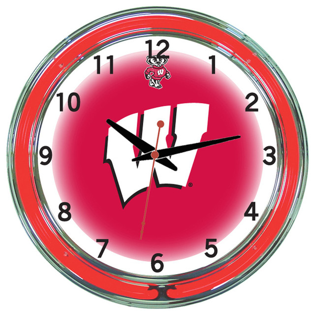 Wall Clocks With Neon Lights : Wisconsin Badgers 18