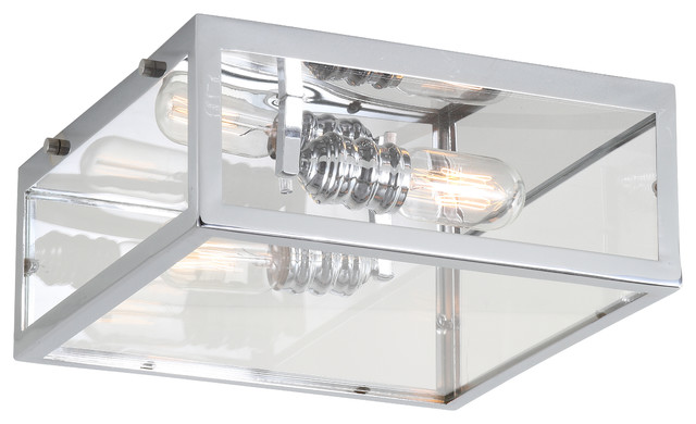 """Grayson 12"""" Metal and Glass LED Flush Mount, Chrome, Clear"""