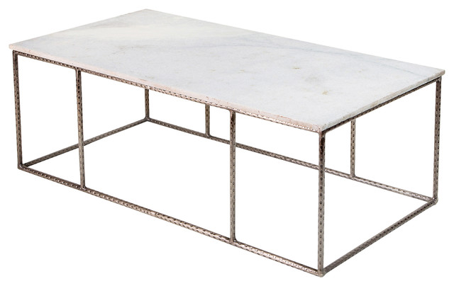 Neha Bazaar Hammered Iron White Marble Coffee Table Eclectic - Rectangle white marble coffee table