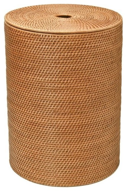 Round Rattan Hamper With Cotton Liner, Honey-Brown.
