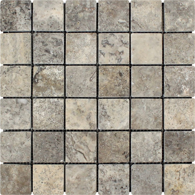 Silver Travertine Hexagon Mosaic 2x2 Tumbled Mosaic