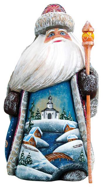 Winter Church Santa, Woodcarved Figurine.