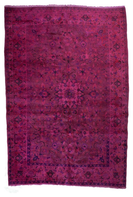Vintage Style Overdyed Floral Persian Hot Pink Fuchsia Rug, 6.67'x10.16'