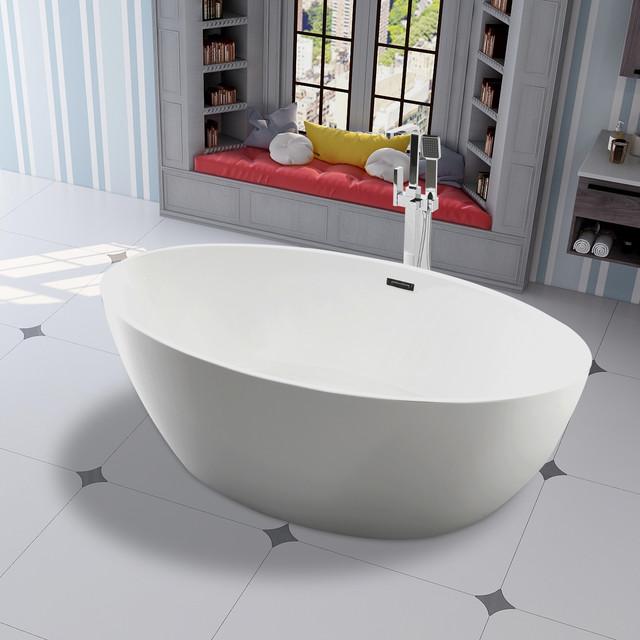 Vanity Art 55 Freestanding Acrylic Soaking Bathtub