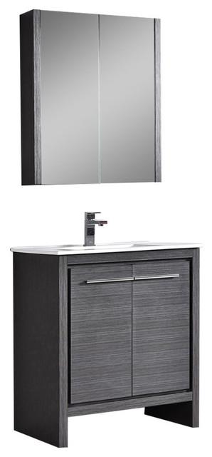 """Milan 30"""" Vanity Set With Medicine Cabinet, Silver Gray."""