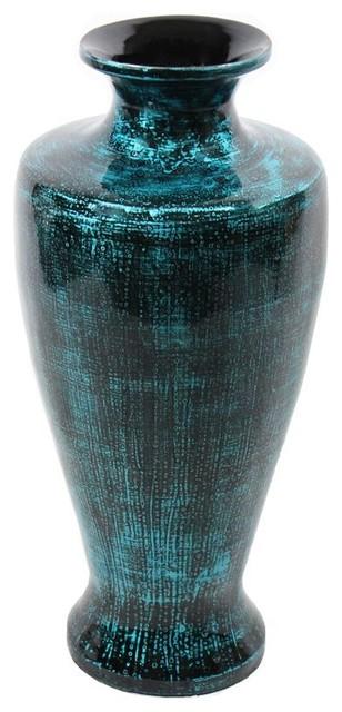 Teal Lacquer Bamboo Vase Sku En30490 Vases By