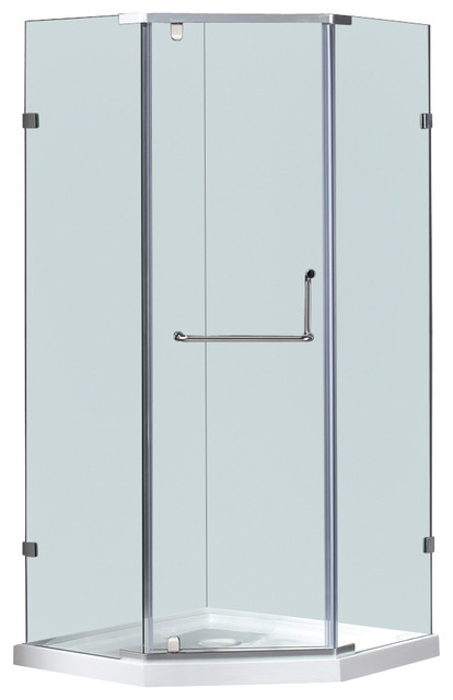 """Aston 38""""x38"""", Neo-Angle Semi-Frameless Shower, Stainless With Shower Base"""