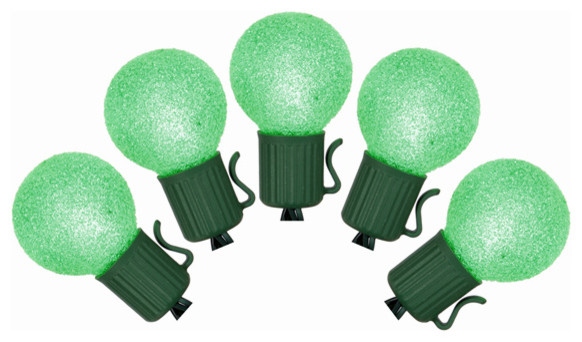 Set Of 10 Battery Operated Sugared Green Led G30 Christmas Lights, Green Wire.