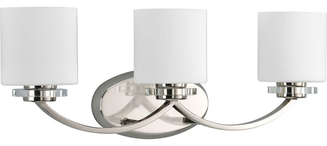Progress Lighting Rizu Collection 3 Light Brushed Nickel: Nisse Collection 3-Light Polished
