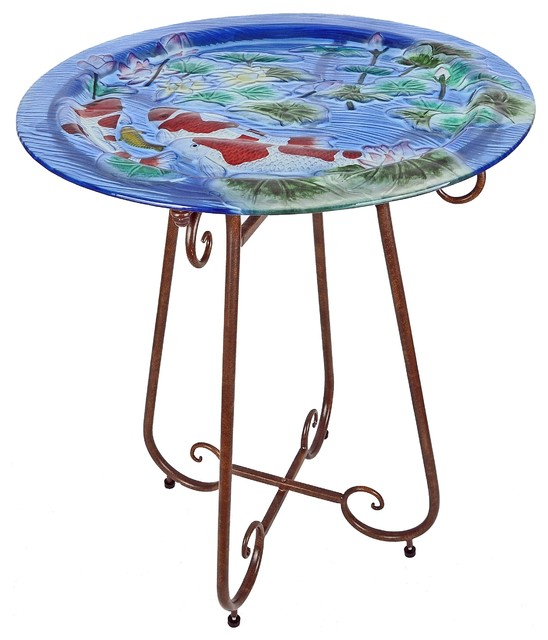 Continental art center hand painted glass bistro table for Koi pool table