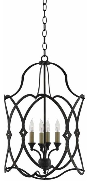 Currey And Company 9000 0024 Charisma 4 Light Wrought Iron Cage Chandelier