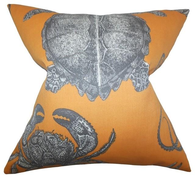 The Pillow Collection - Aeliena Coastal Pillow, Orange & Reviews Houzz