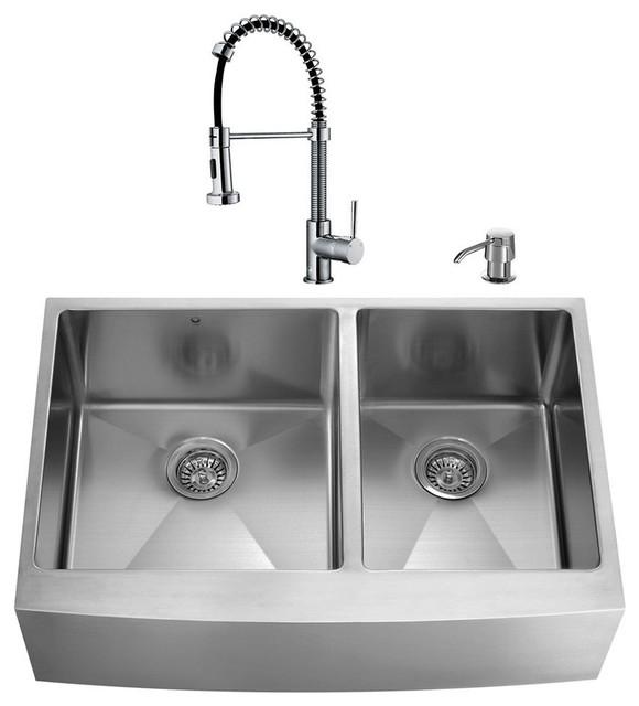 "Kitchen Sink Set: VIGO All In One 33"" Farmhouse Double Bowl Kitchen Sink And"