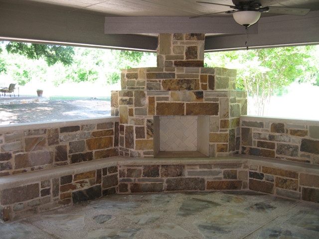 Fort Worth Burleson Covered Patio, Outdoor Fireplace, and ... on Covered Outdoor Kitchen With Fireplace id=95029