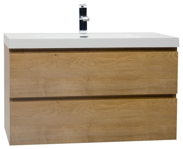 Angela 35 5 Wall Mount Bathroom Vanity Natural Oak Contemporary Bathroom Vanities And Sink Consoles By Conceptbaths Houzz