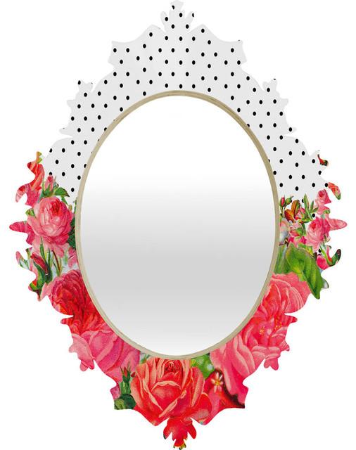 Allyson Johnson Bold Floral And Dots Baroque Mirror