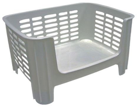 Plastic Stacking Storage Bin, White.