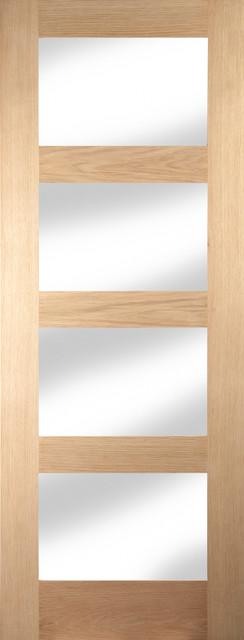 Shaker 4-Panel Clear Glazed Interior Door, 73x204 cm