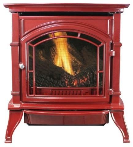 31k Btu Red Enameled Porcelain Cast Iron Vent Free Stove, Ng.