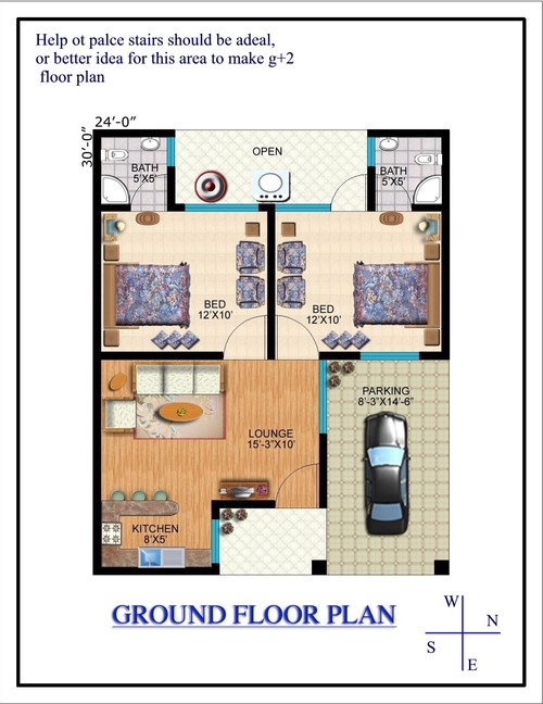 G+2 Home Design Part - 21: Need Help To Place Stairs Or Better Idea For East Open G+2 Home Floor