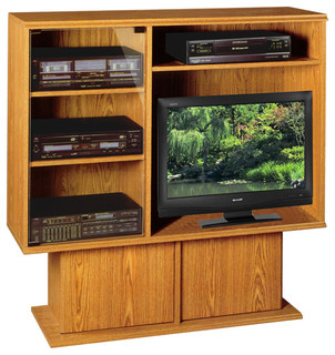 Rush Furniture - Pedestal Entertainment Center, Oak - View in Your Room!   Houzz