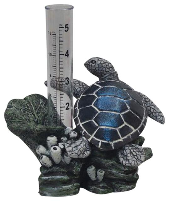 Sea Turtle Rain Gauge Garden Outdoor Decor Beach Style Gardening Accessories By The Crabby Nook