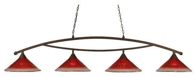 Toltec Bow Island Light In Bronze, Raspberry Glass