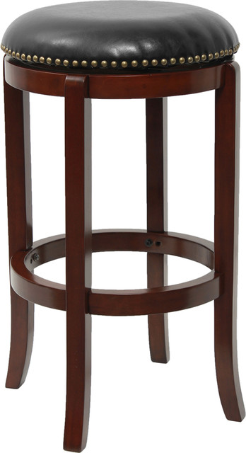 29' Backless Wood Bar Stool With Black Leather Swivel Seat, Cherry  traditional-