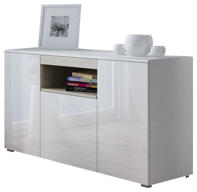 Viva White Gloss Sideboard Sonoma Oak