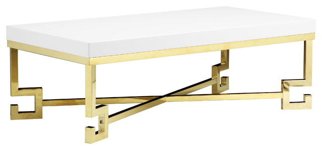 Sophia Coffee Table, White Lacquer And Gold Coffee Tables