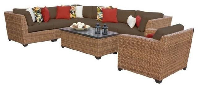 TK Classics Laguna 8-Piece Outdoor Wicker Sofa Set, Aruba