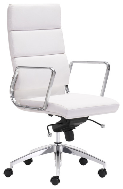 Josh Modern White Leather Silver Chromed Steel Swivel Office Chair