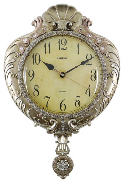 Atique Chinese Emperor Gold Wall Clock with Swinging Pendulum