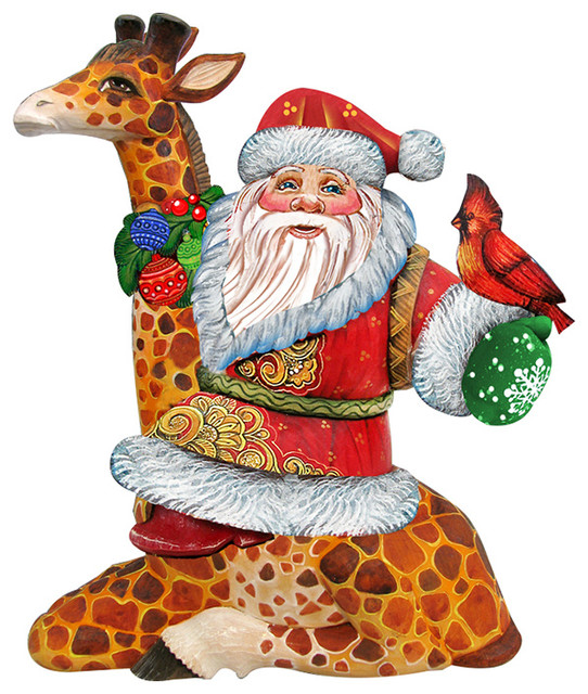 Santa On Giraffe Wooden Holiday Decorative Door Hanger.